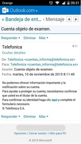 Fraude emails Movistar